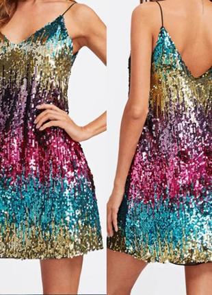 Блестящее платье в пайетках. мини платье, клубное платье. блестящее платье
