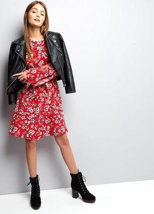 Новое брендовое летнее платье в цветочный принт короткий рукав new look