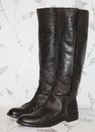 Итальянские кожаные сапоги на цигейке 37 р/24 см стелька