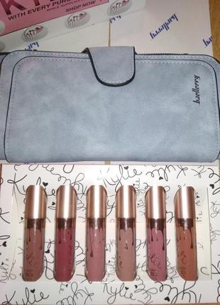Набор кошелек клатч портмоне baellerry + набор стойких помад