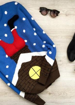 Красивый новогодний теплый свитер 3д с сантой в горошек merry christmas