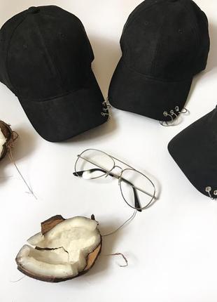 Розпродаж ! чёрная кепка кольца бейсболка замш тренд 2019 головные уборы украина купить
