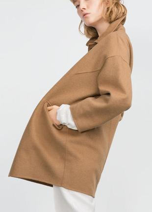 Трендовое шерстяное пальто без подкладки бойфренд кокон цвета кемэл
