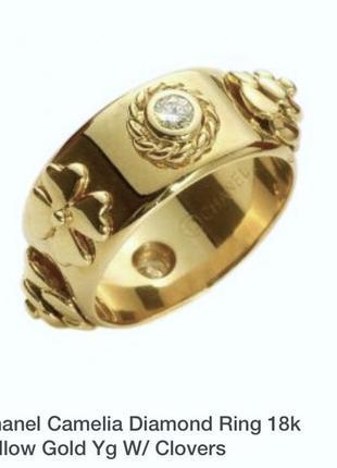 Кольцо золото бриллиант chanel camelia 💍 р16