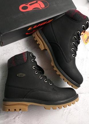 Lugz оригинал черные водостойкие ботинки на тракторной подошве демисезон бренд из сша