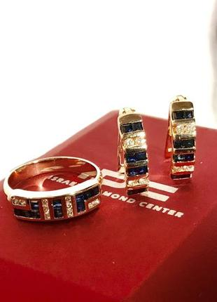 Серьги кольцо сапфиры + брилианты 585•проба • «зарина»