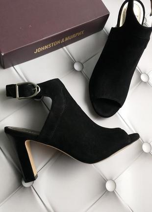 Johnston & murphy оригинал черные замшевые босоножки на широком каблуке бренд из сша4
