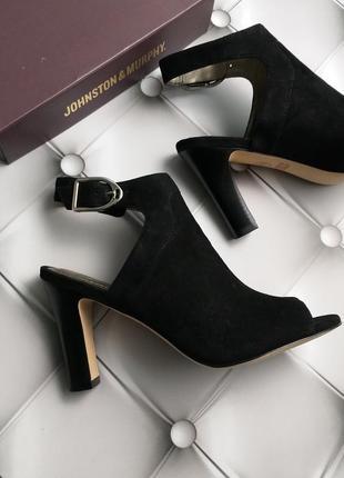 Johnston & murphy оригинал черные замшевые босоножки на широком каблуке бренд из сша5