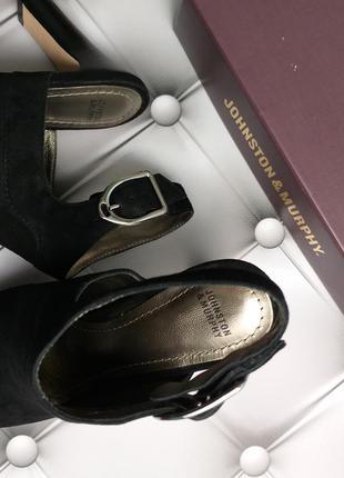 Johnston & murphy оригинал черные замшевые босоножки на широком каблуке бренд из сша7