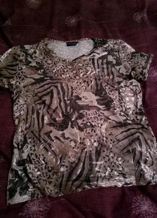 Блестящая футболка с леопардовые принтом