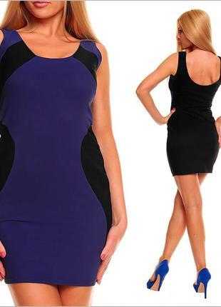 Черное платье с синей вставкой