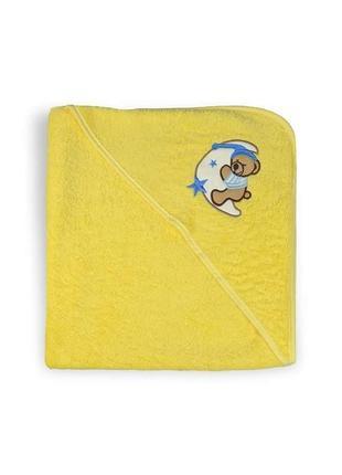 Полотенце-уголок с капюшоном для купания 75х75