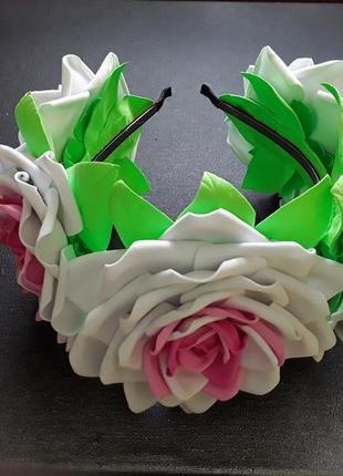 Обруч венок большые белые розовые цветы ручная работа