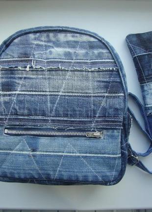 Джинсовый рюкзак набор