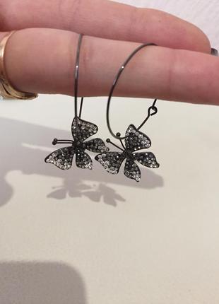 Серьги кольца бабочки с камнями