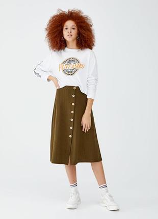 Обнова! юбка миди хаки с пуговицами трапеция а-силуэт новая бренд pull&bear