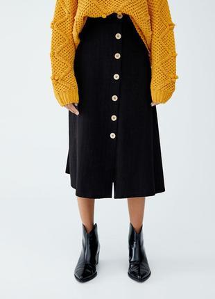 Обнова! юбка миди черная с пуговицами трапеция а-силуэт новая бренд pull&bear