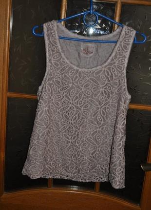 Кружевная итальянская майка блуза с добавлением шелка