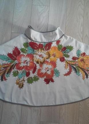 Пудровая юбка солнце клеш с рисунком и вышивкой стеклярисом пот 40см.