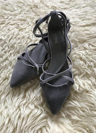 Бархатные балетки туфли