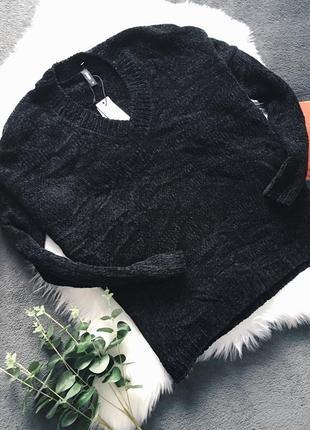 Плюшевый велюровый чёрный оверсайз свитер asos