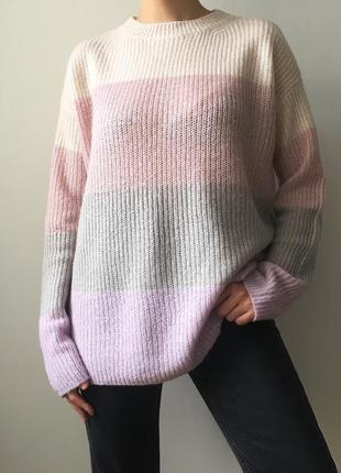 Полосатый свитер оверсайз в пастельных тонах primark радужный джемпер колор блок