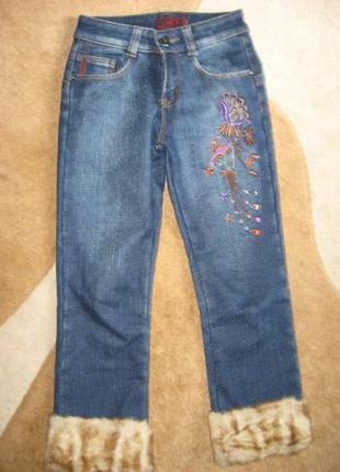 Джинсовые брюки ф.dlf на флисовой подкладке р-26 состояние новых