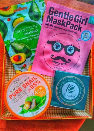 Крутой набор: патчи под глаза,  гель с улиткой и маски для лица