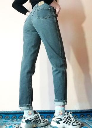 Джинсы высокая посадка заужены серые графит черные mum's fit jeans мом плотные
