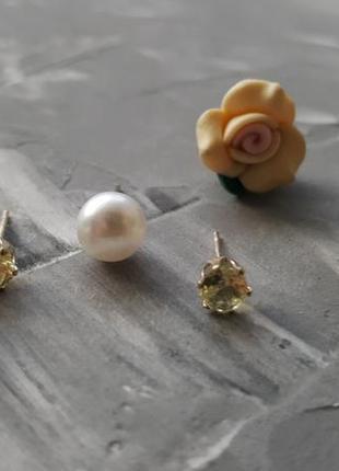Набор сережек 3 в 1 розы кристаллы и искусственный жемчуг гвоздики3