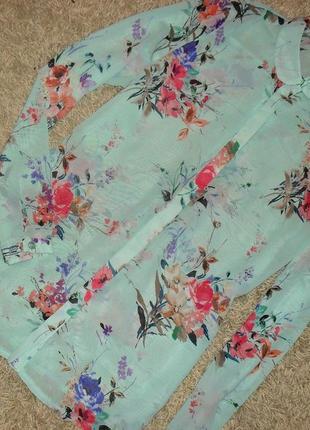 Красивая нежная шифоновая блуза, рубашка в цветочный принт atmosphere