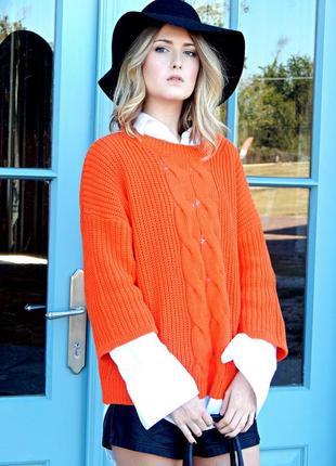 Морковный свитер h&m