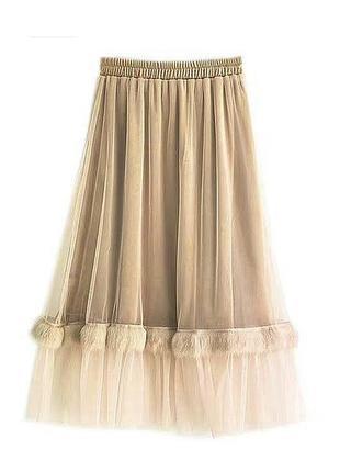 💣  красивеная юбка велюр с фатином евро сетка волан  украшен тесьмой из натурального меха