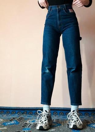 Джинсы высокая посадка заужены к низу синие темные мом mum's fit jeans карго штаны3