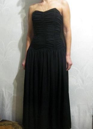 Платье чёрное с корсетом длинное вечернее выпускное