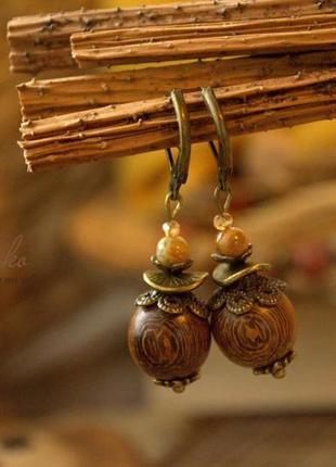 Серьги ′теплый мед′, серьги из дерева в стиле бохо, серьги ручной работы