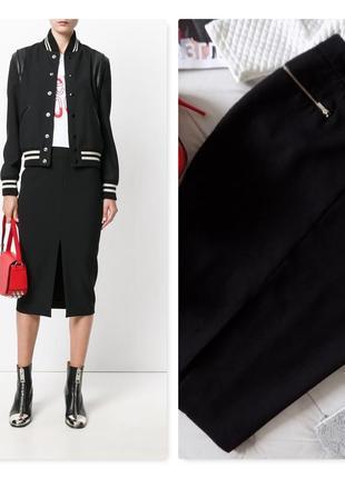Стильная юбка карандаш с разрезом из плотной костюмной ткани