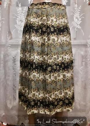 """Новая плесированая юбка-миди в цветочный принт """"хаки"""", размер л-хл"""