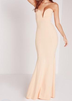 Вечернее  платье  в пол missguided nude