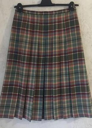 Шерстяная клетчатая юбка в складку шотландка миди woolmark 18 размер, нюанс