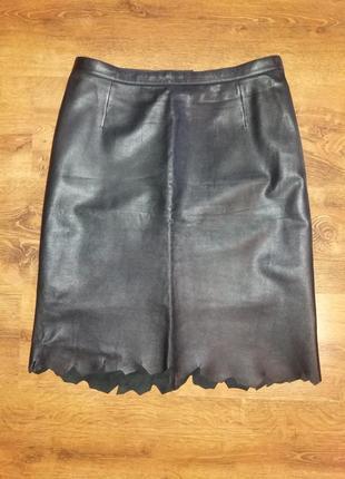 Натуральная кожаная юбка с ассиметричным подолом