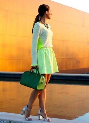 Неоновая,яркая юбка,высокая талия,высокая посадка zara,размер 36/s
