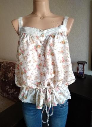 Срочная распродажа!!! летняя свободная майка colin's с кружевом и цветочным принтом