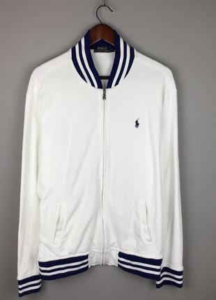Белый хлопковый бомбер polo ralph lauren мужская кофта новые коллекции
