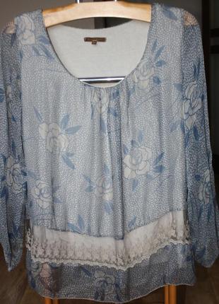 Шифоновая блуза на трикотажной майке