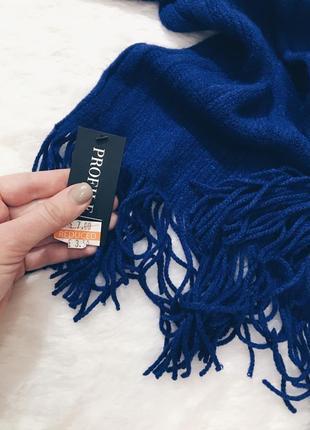 Шикарный новый синий теплый вязаный шарф с биркой!3