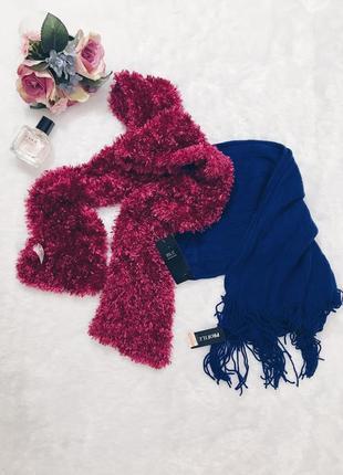 Шикарный новый синий теплый вязаный шарф с биркой!5
