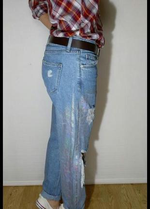 Классные джинсы с радужным напылением от denim co2