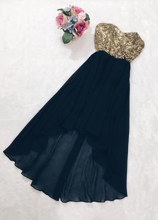 Шикарное новое вечернее платье миди с паетками s-m размер с бирками!