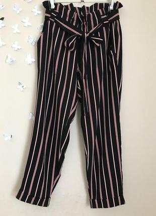 Трендовые брюки в полоску высокая талия чёрные красные размер s m